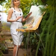 Рисуем картины на фотосессии в саду
